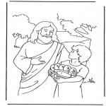 Disegni biblici da colorare - 5 pani e 2 pesci 4