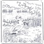 Disegni da colorare Animali - Anatra con elfo