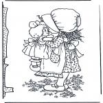 Disegni da colorare Vari temi - Bambina con bambola