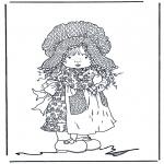 Disegni da colorare Vari temi - Bambina con gatto 2