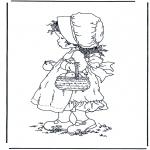 Disegni da colorare Vari temi - Bambina con le mele