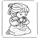 Disegni biblici da colorare - Bambina in preghiera