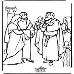 Disegni biblici da colorare - Bambino Gesù nel tempio