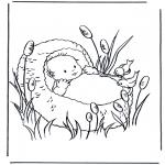 Disegni da colorare Temi - Bambino in cesta