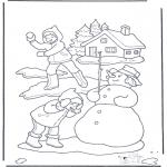 Disegni da colorare Inverno - Battaglia a palle di neve