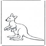 Disegni da colorare Animali - Canguro con piccolo