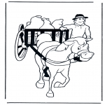 Disegni da colorare Animali - Carro e cavallo