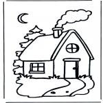 Disegni da colorare Vari temi - Casa di notte