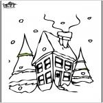 Disegni da colorare Inverno - Casa nella neve 2