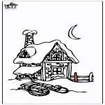Disegni da colorare Inverno - Casa nella neve 3