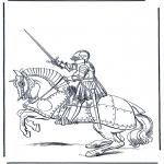 Disegni da colorare Vari temi - Cavaliere a cavallo