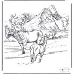 Disegni da colorare Animali - Cervi nella neve
