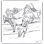 Disegni da colorare Inverno - Cervo nella neve