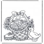 Disegni da colorare Temi - Cesta con uova di Pasqua