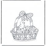 Disegni da colorare Temi - Cestino di Pasqua