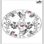 Disegni da colorare Temi - Coniglietto pasquale - Disegno da bucherellare 3
