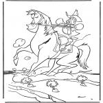 Disegni da colorare Animali - Cowboy a cavallo 9