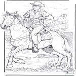 Disegni da colorare Animali - Cowboy con cavallo