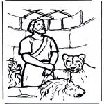 Disegni biblici da colorare - Daniele nalla fossa dei leoni 1