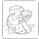 Disegni biblici da colorare - Davide e la sua lira