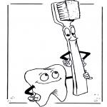Disegni da colorare Vari temi - Dente e spazzolino
