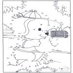 Lavori manuali - Disegna seguendo i numeri ' Cane 2