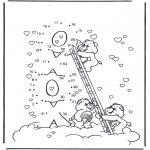 Lavori manuali - Disegna seguendo i numeri ' orsetti del cuore 1