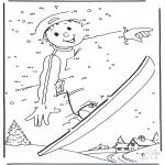 Lavori manuali - Disegna seguendo i numeri ' snowboard 1