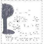 Lavori manuali - Disegna seguendo i numeri - Albero