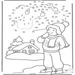 Disegni da colorare Inverno - Disegna seguendo i numeri - inverno 1
