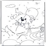 Lavori manuali - Disegna seguendo i numeri - orso 4