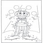 Lavori manuali - Disegna seguendo i numeri - Pagliaccio 2