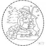 Disegni da colorare Natale - Disegno da bucherellare ' Natale 25