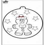 Disegni da colorare Natale - Disegno da bucherellare ' Omino di zenzero 1