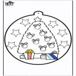 Disegni da colorare Natale - Disegno da bucherellare - Albero di Natale 1