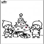 Disegni da colorare Natale - Disegno da bucherellare - Albero di Natale 4