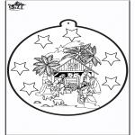 Disegni da colorare Natale - Disegno da bucherellare - Giuseppe e Maria
