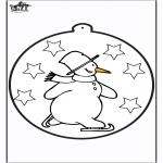 Disegni da colorare Inverno - Disegno da bucherellare - pupazzo di neve 1