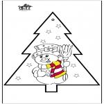 Disegni da colorare Natale - Disegno da bucherellare - pupazzo di neve 2