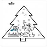 Disegni da colorare Natale - Disegno da bucherellare - pupazzo di neve 3