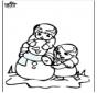 Disegno da colorare pupazzo di neve 3