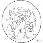 Disegni da colorare Natale - Disegno da ricamare Natale 23