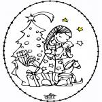 Lavori manuali Disegni da ricamare - Disegno da ricamare - ragazza e albero di Natale