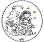 Disegno da ricamare - ragazza e albero di Natale