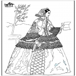 Disegni da colorare Vari temi - Donna con una lettera