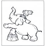 Disegni da colorare Animali - Elefante al circo