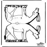 Lavori manuali - Figurina da ritagliare Asino