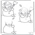 Disegni da colorare Inverno - Finisci il disegno del pupazzo da neve