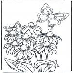 Disegni da colorare Vari temi - Fiore e farfalle