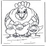 Disegni da colorare Animali - Gallina con pulcini